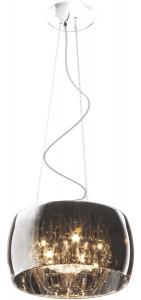 Lustra argintie din sticla si metal cu 5 becuri Crystal Zuma Line