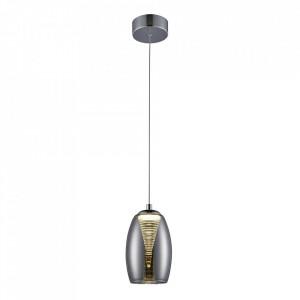 Lustra argintie/gri fum din sticla si metal cu LED Metropolis Brilliant