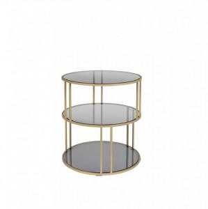 Masa aurie din metal si sticla pentru cafea 45 cm Torn Dutchbone