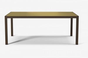 Masa cafea din lemn stejar inchis si alama 118x60 cm Tribute Large Brass Bolia