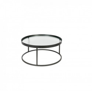 Masa cafea rotunda din metal si sticla 70 cm Boli Dutchbone