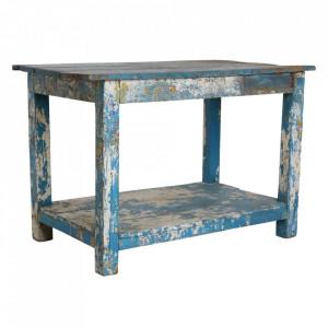 Masa dining alba/albastra din lemn 74x123 cm Hidur Raw Materials