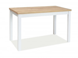 Masa dining alba/maro din placi laminate si MDF 60x100 cm Adam Gold Oak Signal Meble