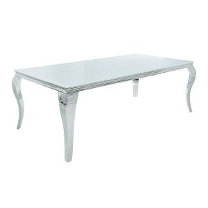 Masa dining argintie/alba din sticla si inox 90x180 cm Baroque Invicta Interior