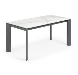 Masa dining extensibila dreptunghiulara gri/alba din otel si portelan 90x(160)220 cm Axis Kalos White Kave Home