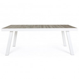 Masa dining gri/alba din ceramica si aluminiu 101x201 cm Gilbert Bizzotto