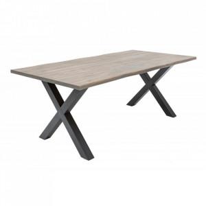 Masa dining gri/neagra din lemn si fier 100x200 cm Genesis Acacia Invicta Interior