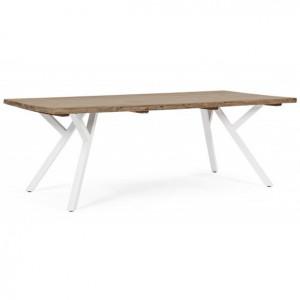 Masa dining maro/alba din lemn si aluminiu pentru exterior 100x220 cm Coleman Bizzotto