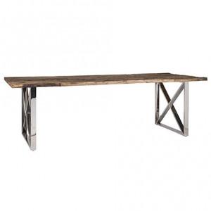Masa dining maro/argintie din lemn si inox 100x200 cm Kensington Richmond Interiors