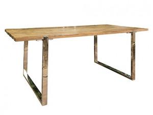 Masa dining maro/argintie din lemn si inox 100x240 cm Maddox Big Richmond Interiors