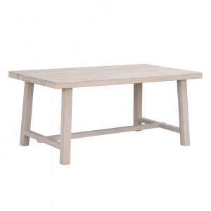 Masa dining maro deschis din lemn de stejar 95x170 cm Brooklyn Whitewhased Rowico Home