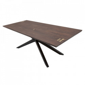 Masa dining maro din lemn de salcam si metal 90x200 cm Galaxy Artwork Invicta Interior