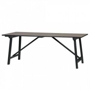 Masa dining maro/neagra din lemn de pin 90x180 cm Derby Woood