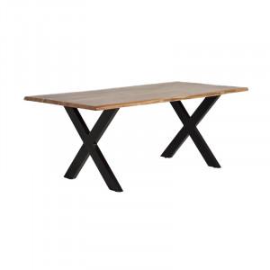 Masa dining maro/neagra din lemn de salcam si metal 100x200 cm Yara Giner y Colomer