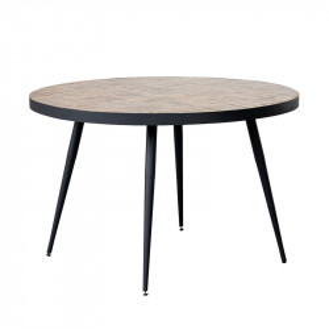 Masa dining maro/neagra din lemn de tec si fier 120 cm Lexingtion Lifestyle Home Collection