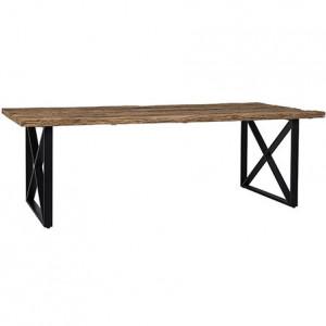 Masa dining maro/neagra din lemn si otel 100x200 cm Industrial Kensington Richmond Interiors
