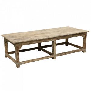 Masa maro din lemn de tec pentru cafea 74x175 cm Tikka Raw Materials