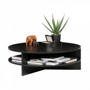 Masa neagra din lemn pentru cafea 100 cm Trian Black Woood