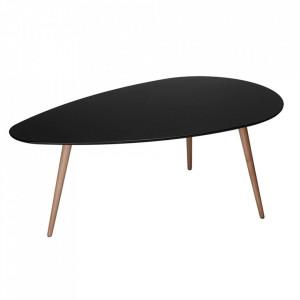 Masa neagra din MDF si lemn de fag pentru cafea 66x116 cm Fly Furnhouse
