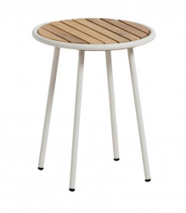 Masuta alba/maro din lemn de salcam si otel pentru exterior 40 cm Robyn La Forma