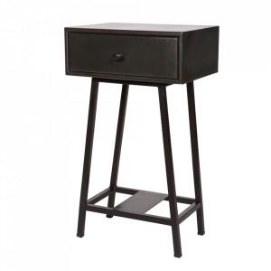 Masuta cu sertar neagra din lemn si metal 30x40 cm Skybox Be Pure Home