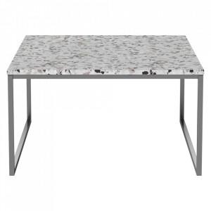 Masuta de cafea alba/argintie din terrazzo si inox 60x60 cm Como Bolia