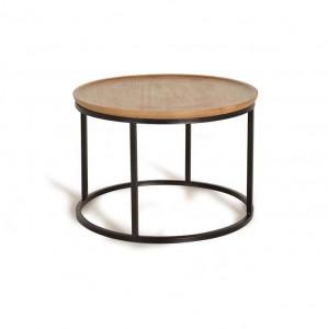 Masuta maro/neagra din lemn si metal 70 cm Rivo Giner y Colomer