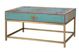 Masuta multicolora din lemn si metal 60x90 cm Oblas Giner y Colomer