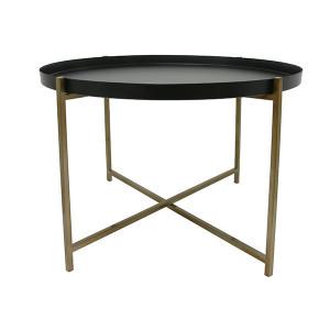 Masuta neagra din metal si alama 63 cm pentru cafea Brass L HK Living