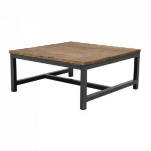 Masuta neagra/maro din metal si lemn pentru cafea 90x90 cm Alivany Actona Company