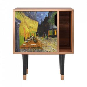 Noptiera multicolora din MDF si lemn Café Terrace At Night By Vincent Van Gogh Furny