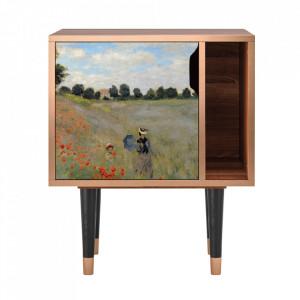 Noptiera multicolora din MDF si lemn The Poppy Field Near Argenteuil By Claude Monet Furny