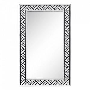 Oglinda alba/neagra din fier si sticla 53,5x86 cm Caja Ixia