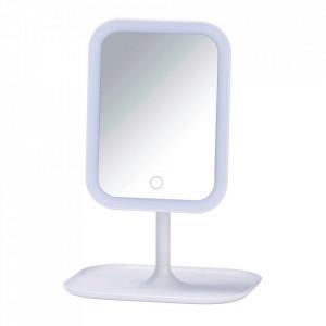 Oglinda cosmetica de masa cu LED dreptunghiulara alba din plastic 21x30 cm Bertiolo Wenko