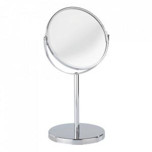 Oglinda cosmetica de masa rotunda argintie din metal 18x34 cm Assisi Wenko