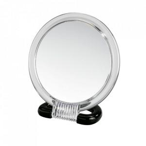 Oglinda cosmetica de masa rotunda transparenta/neagra din plastic 15x17 cm Hand Mirror Wenko