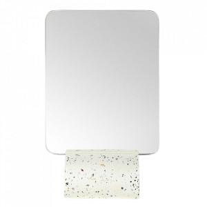 Oglinda de masa dreptunghiulara alba din terrazzo 15x23 cm Muzz Zago