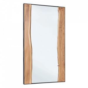 Oglinda dreptunghiulara maro din lemn de salcam si otel 80x140 cm Artur Bizzotto