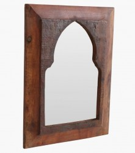 Oglinda dreptunghiulara maro din lemn si sticla 24x33 cm Maroccan Night Raw Materials