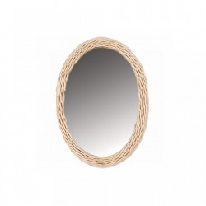 Oglinda ovala maro din ratan 23x32 cm Balthazar Mini Opjet Paris