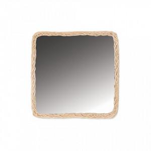 Oglinda patrata maro din ratan 44x44 cm Balthazar Opjet Paris