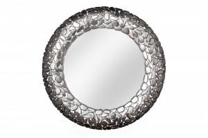 Oglinda rotunda argintie din aluminiu si sticla 82 cm Stone Mosaic Invicta Interior