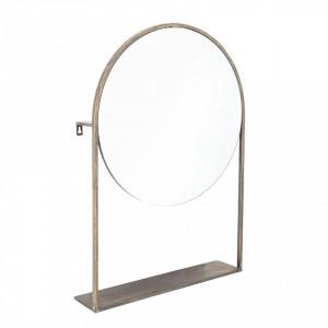 Oglinda rotunda aurie de masa din fier 50x76 cm Tapla Creative Collection
