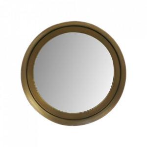 Oglinda rotunda aurie din aluminiu si fier 20 cm Fletcher HSM Collection