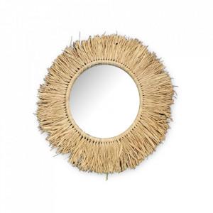 Oglinda rotunda crem din rafie 24 cm Efia Objet Paris