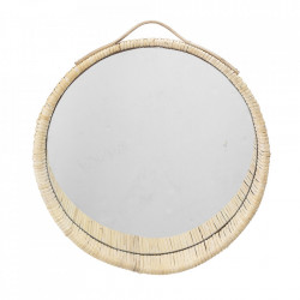 Oglinda rotunda crem din ratan 38 cm Nature Bloomingville