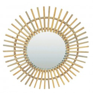 Oglinda rotunda crem din ratan 60 cm Bora Zago