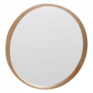 Oglinda rotunda maro din lemn de tec 55 cm Nova Raw Materials