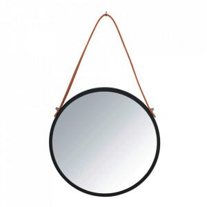 Oglinda rotunda neagra/maro din fier si piele 30 cm Borrone Wenko