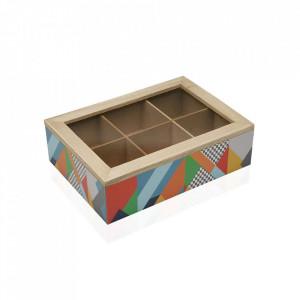 Organizator cu capac multicolor din lemn Brais Teabox Versa Home